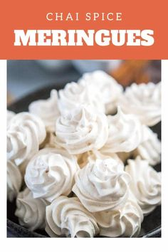 These chai-spiced meringue cookies are all sugar and spice and everything nice! These airy treats simply melt in your mouth! You are going to love these light little cookies! Just Desserts, Delicious Desserts, Healthy Desserts, Baked Meringue, Best Meringue Cookies Recipe, Meringue Food, Cookie Recipes, Dessert Recipes, Cookie Ideas