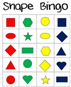 This activity relates to the NCTM standard of describing the attributes and parts of and shapes. The BINGO calling cards list shape attributes and students are required to match them with the shapes pictured. Math Classroom, Kindergarten Math, Math Activities, Preschool Activities, Preschooler Crafts, Preschool Shapes, Teaching Shapes, Teaching Math, Montessori