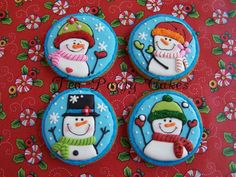 Playful Snowmen by Tea Party Cakes