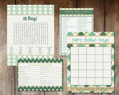Print your own baby shower games - word search, bingo, celebrity baby names, children's book scramble  $9.50