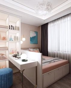 Small Room Design Bedroom, Small House Interior Design, Bedroom Closet Design, Home Room Design, Girl Bedroom Designs, Room Ideas Bedroom, Beautiful Bedroom Designs, Stylish Bedroom, Modern Bedroom