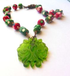 Green, red, flower necklace. Summer, spring.