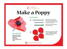 Explore our Remembrance Day (Poppy Day or Armistice Day) and Remembrance Sunday section for kids at iChild! Enjoy our popular 'make a poppy' craft. Remembrance Day Activities, Remembrance Day Poppy, School Age Activities, Craft Activities, Poppy Template, Poppy Images, Poppy Craft, Armistice Day, Anzac Day
