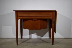 Danish mid century teak sewing table with drop leaf, Johannes Andersen