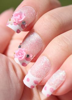 Polka Dot Rose French Tip 3D Stick On Nails