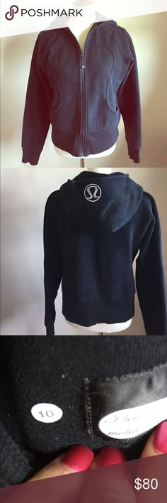 LuLuLemon jacket. Size 10 Excellent condition.  Thick / heavy weight lululemon jacket.  Has silver logo on hood. lululemon athletica Tops Sweatshirts & Hoodies