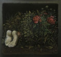 Midnight Garden (after Caravaggio), pastel on black paper, 44 x 44 inches, DISAPPEARANCES 2011.