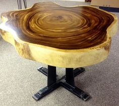 Exotic Live Edge Table with Mission style iron base Wooden Gifts For Him, Wood Gifts, Wood Slab Table, Wooden Tables, Live Edge Wood, Live Edge Table, Wood Turning Projects, Diy Projects, Cool Tables