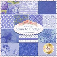 Sausalito Cottage Delphinium 13 FQ Set by Lakehouse Dry Goods - Holly Holderman: Sausalito Cottage is a bright floral collection by Holly Holderman for Lakehouse Dry Goods.