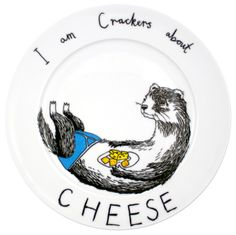 Cheese Weasel Plate | Jimbob Art | Wolf & Badger // I'm dying over his little underpants!