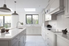 The Ansel collection is our new range of modern kitchen design for 2015. Hand painted kitchen in Cornforth White by Farrow and Ball.