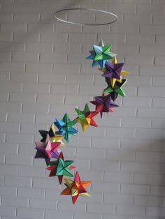 Items similar to Rainbow Origami Star Mobile on Etsy Rainbow Origami, Origami Butterfly, Origami Stars, Origami Flowers, Origami And Kirigami, Diy Origami, Origami Tutorial, Origami Mobile, Quilling Paper Craft