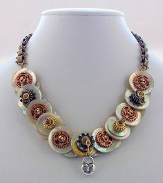 Button Necklace, Steampunk Jewelry, Steampunk Necklace, Vintage Steampunk, Mother of Pearl, Brass, Bronze, Silver, Jewellery, Statement wear on Etsy, $74.23 CAD