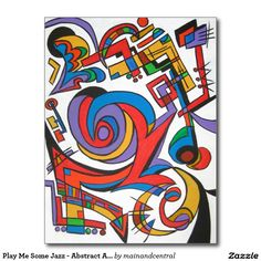 Play Me Some Jazz - Abstract Art Postcard