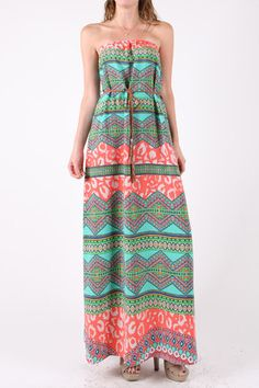 Aztec Printed Maxi Dress with Banded Waist