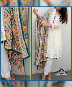 Lucknowi Chikan Kurta With Phulkari Dupatta Fabric details: Kurta - Georgette With Heavy Chikan Embroidery With Buttons And Multicolor Lace (Stitched - Upto chest size Bottom- Cotton Dupatta -Georgette With Heavy Phulkari Embroidery Simple Kurta Designs, Kurti Neck Designs, Kurta Designs Women, Kurti Designs Party Wear, Salwar Designs, Stylish Dresses For Girls, Stylish Dress Designs, Designs For Dresses, Dress Indian Style