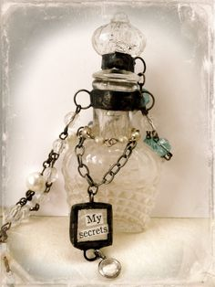 Antique Bottle Necklace Altered Art Jewelry Soldered by Mystarrrs