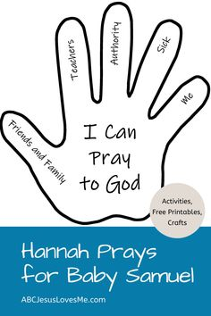 Bible activities, crafts, and FREE Printables to teach children the story of Hannah and Baby Samuel. Preschool Bible Verses, Bible Activities For Kids, Rainbow Activities, Bible Crafts For Kids, Church Activities, Children Bible Stories, Prayers For Children, Sunday School Crafts For Kids, Bible School Crafts