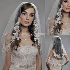 Wholesale Vintage White Ivory Short Tulle Wedding Bridal Veil Elbow Length Two Layer Beaded Lace Appliques, Free shipping, $21.8-35.4/Piece | DHgate