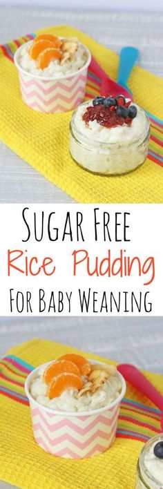 A delicious sugar free rice pudding recipe, naturally sweetened with coconut and great for weaning babies and children #weaning #baby #recipes