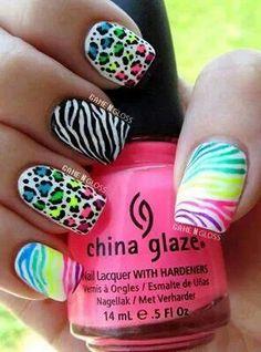 Neon blue - Neon green - Neon Yellow - Neon Pink - Neon purple - Leopard print - Black - White - Zebra print - Nail design