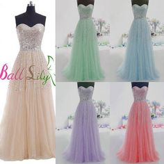 Long Tulle Prom Dresses Quinceanera Ball Gowns Sweet Sixteen Formal Party Dress | eBay