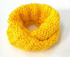 Bright Yellow Hand Knit Cowl by joysazplace for $30.00