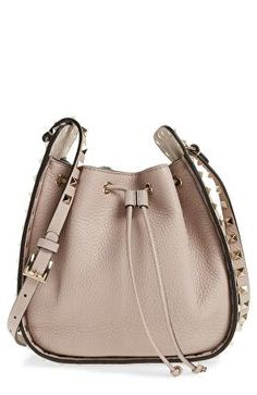2328b13f40a VALENTINO GARAVANI Designer Rockstud Leather Bucket Bag
