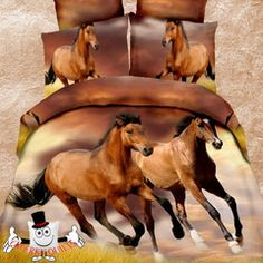 3D Bed Set Galloping Brown Horse Bedding Set and Quilt Cover
