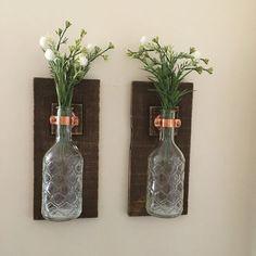 Mason Jar Wall Sconce (SET OF TWO) Wall Lanterns Rustic Wall Decor Glass Jar Hanging Vase Lantern Candle Wall Sconces,Rustic Wooden Sconces
