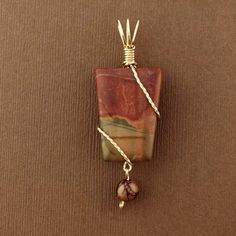 Gold filled Red Creek Jasper Wire Wrap pendant, hand-crafted wire wrap jewelry