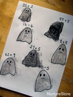 halloween math games :: spooky sums with magic appearing answers!