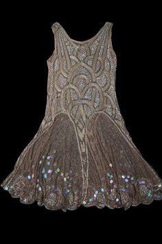 1920s Bead & Sequin Rose Gold Flapper dress.