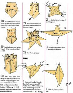 Origami Daffodil Page 3 Paul Jackson, Origami Paper Folding, Origami Diagrams, Paper Art, Paper Crafts, Bridesmaid Thank You, The Diagram, Origami Patterns, How To Make Origami