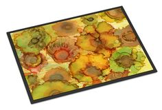Abstract Flowers in Yellows and Oranges Indoor or Outdoor Mat 24x36 8986JMAT