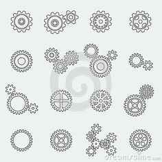Cogs wheels and gears pictograms by Macrovector, via Dreamstime