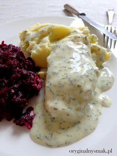 Piersi z kurczaka w sosie śmietanowo-koperkowym Healthy Dishes, Healthy Recipes, Polish Recipes, I Foods, Food To Make, Cake Recipes, Chicken Recipes, Food And Drink, Lunch