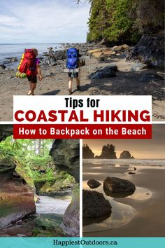 Planning to hike the West Coast Trail, the beaches of Olympic National Park, or another coastal trail? You need these beach hiking tips. Learn what gear to bring, how to prepare, why tide tables are important, and lots more. Coastal hiking tips. Beach hiking tips. How to hike on the beach. How to prepare for a coastal hike. How to get ready for the West Coast Trail. Backpacking Tips, Hiking Tips, Beach Backpack, West Coast Trail, Trail Guide, Bungee Jumping, Best Hikes, Day Hike, Travel Stuff