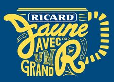 comm été 2013 par BETC - en + des graphies rétro des vieilles pub, reprise de la forme des anciennes carafes ;)  Ricard lance sa nouvelle campagne « Jaune avec un grand R »
