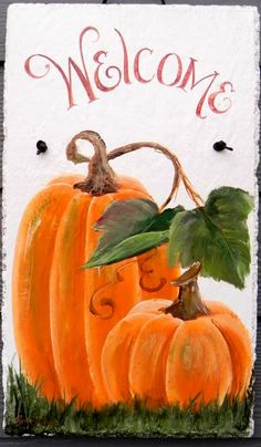 Autumn Welcome Hand Painted Slate Plaque Two by DancingBrushes