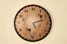 Country Primitive Wooden Heart and  Star Painted Clock