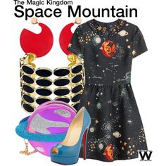 Space Mountain by wearwhatyouwatch on Polyvore featuring Valentino, Christian Louboutin, Skinnydip, House of Harlow 1960, Marni, travel, disney, DisneyWorld and themepark