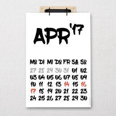 """Calendar """"Eddie"""" DIN-A3 / A4   Five before ten Calendar, A3, Paper, Ballpoint Pen, Wall Calendars, Life Planner"""