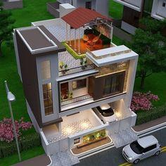 3 Storey House Design, Duplex House Design, House Front Design, Design Your Dream House, Small House Design, Modern Exterior House Designs, Modern House Facades, Modern House Design, Exterior Design
