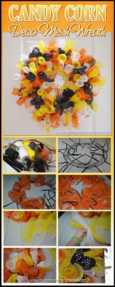 How to Make a Deco Mesh Candy Corn Wreath ✄ There is an excellent You Tube video for learning to make these wreaths ✄ Holidays Halloween, Halloween Crafts, Halloween Decorations, Halloween Wreaths, Halloween Candy, Wreath Crafts, Diy Wreath, Wreath Ideas, Tulle Wreath