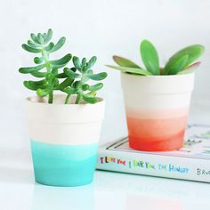 Make your own ombre pots in a few simple steps: http://www.bhg.com/decorating/do-it-yourself/accents/dip-dyed-projects/?socsrc=bhgpin042815ombrepots