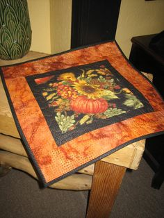 Pumpkin and Sunflower Quilted Table Topper
