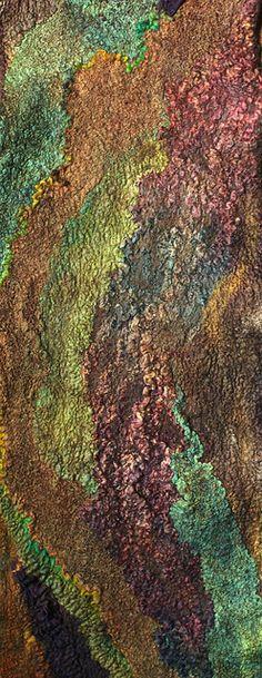 Nuno Felted Scarf by By Felted Pleasure Marina Shkolnik - Superfine Australian merino wool, tussah silk, mulberry silk, silk ponge fabric, wool yarn, cotton gauze fabric.
