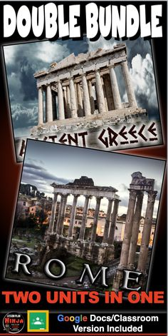 Greece and Rome Units Bundled (two units in one) covers the classic civilizations of Greece and Rome. These units include PowerPoints notes, PowerPoint warm ups, common core informational text documents and primary source worksheets, maps, exit tickets, crossword reviews, Kahoot! review games, videos/video guides, and assessments. Everything is put together with detailed daily lesson plans. Just copy and paste to your lesson plans.  #HistoryLessonPlans #Socialstudies #WorldHistoryLessonPlans Social Studies Worksheets, Teaching Social Studies, Teaching History, History Lesson Plans, World History Lessons, Google Docs Classroom, Daily Lesson Plan, Exit Tickets, Review Games