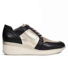 6f60730e5d4 Zapato Deportivo cuña mujer Oro MEMORY FOAM - miMaO Zapatos – miMaO  ShopOnline Zapatos De Cuña